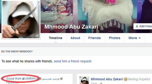 Mhmood Abu Zakari - image Couteau + lien UNRWA