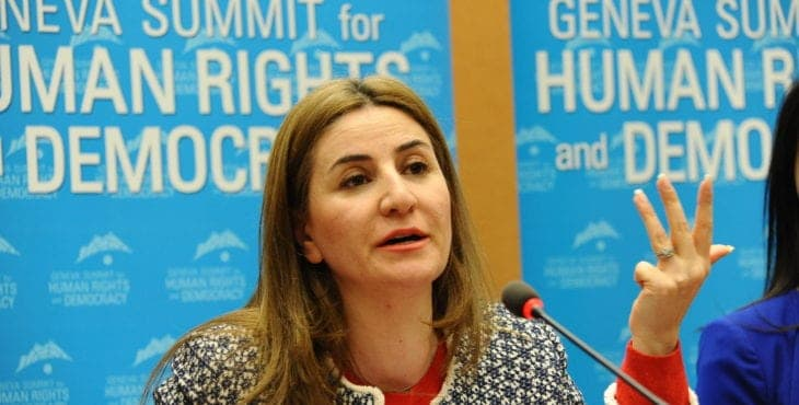 Vian Dakhil, Yazidi member of the Iraqi parliament, testifies at the United Nations, hosted by UN Watch's Geneva Summit for Human Rights, Feb. 2016.