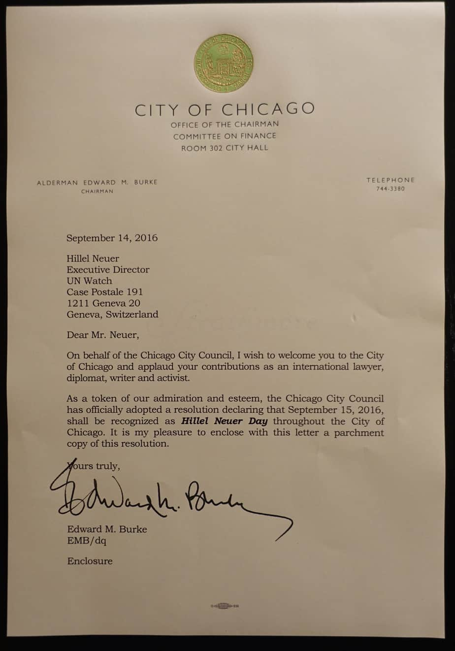 City of chicago declares today hillel neuer day un watch city letter 1betcityfo Choice Image